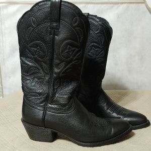 Ariat Black Heritage R Toe Western Boots